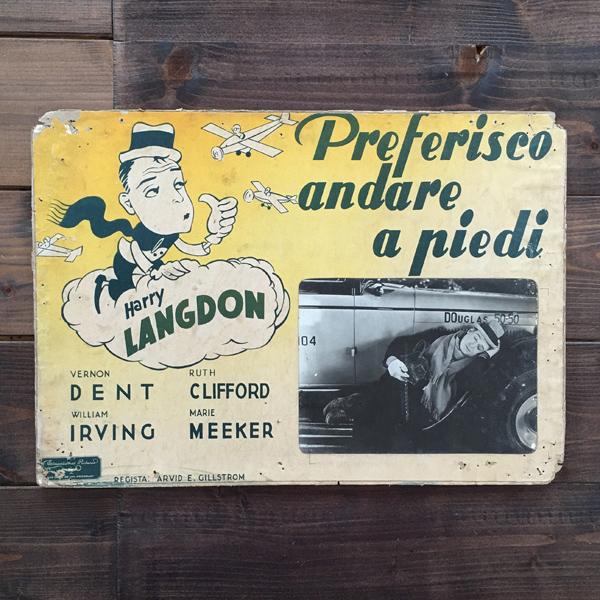 Fotobusta Preferisco andare a piedi film muto 1933, film anni '30 con Harry Langdon