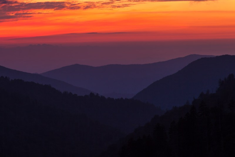 10202. Sunset over the Great Smoky Mountains, Tennessee