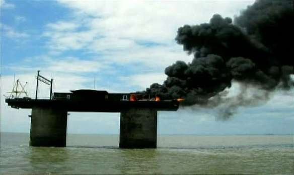 Sealand on Fire well seated the generator house engulfed