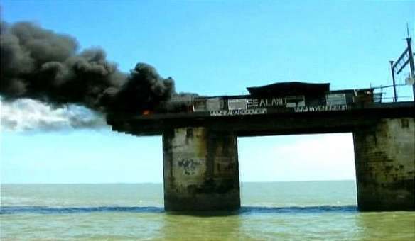 Sealand on Fire before fire fighters arrive