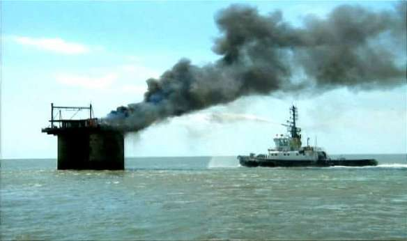 Sealand on Fire with Fire Tug in action