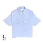 camicia azzurra Maniche corte e taschino con battente, Nanushka shoporama.it
