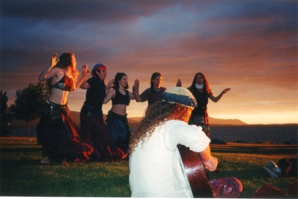 With Hathorakissa Belly Dance Troupe, Boulevard Park, Bellingham WA 2001