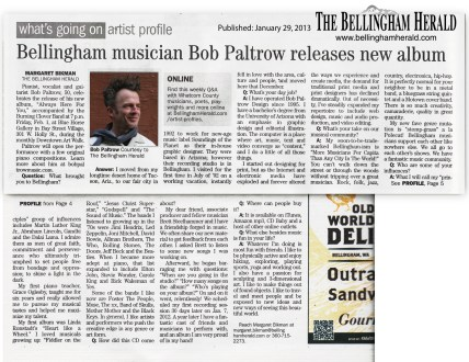 Bellingham Herald Take 5 Bob Paltrow CD Release 1-29-2013