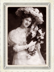 woman holding flowers frame graphic
