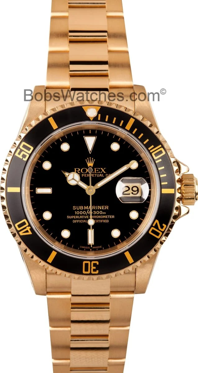 Mens Used Rolex Submariner 18k Gold Model 16618