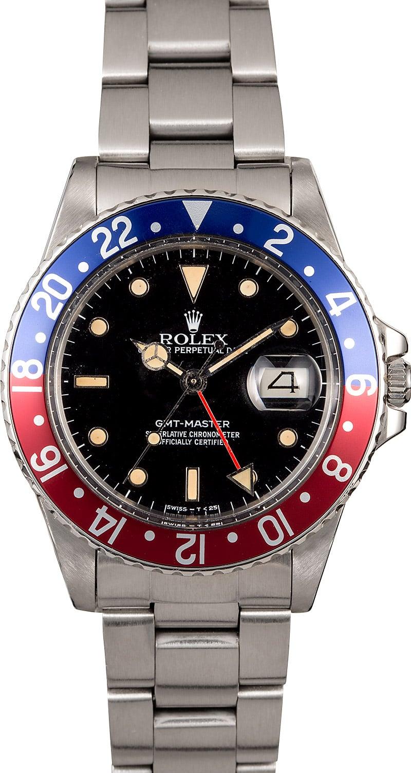 Vintage Rolex GMT Master Pepsi Bezel Model 16750