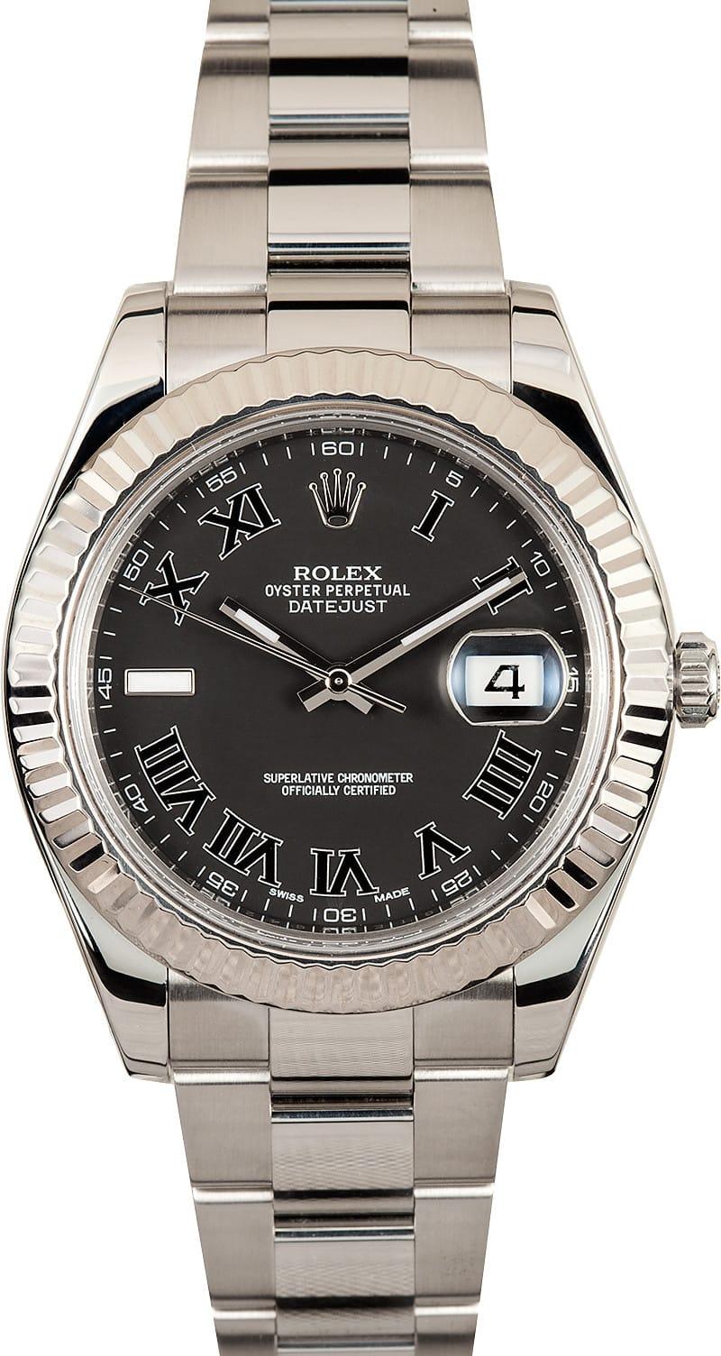 Datejust II Rolex 116334 Black Roman Low Prices On Rolex