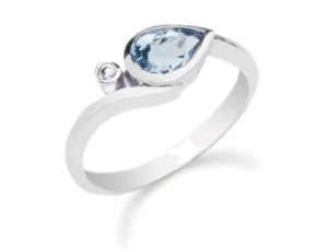 diamond and blue topaz white gold ring