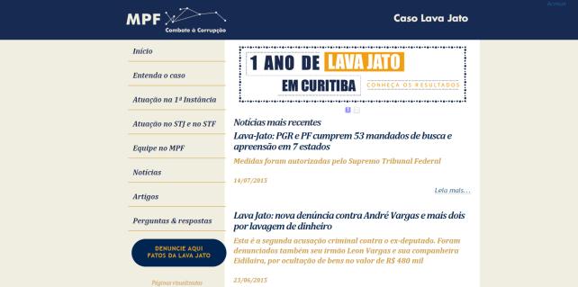 MPF cria site sobre a Lava Jato