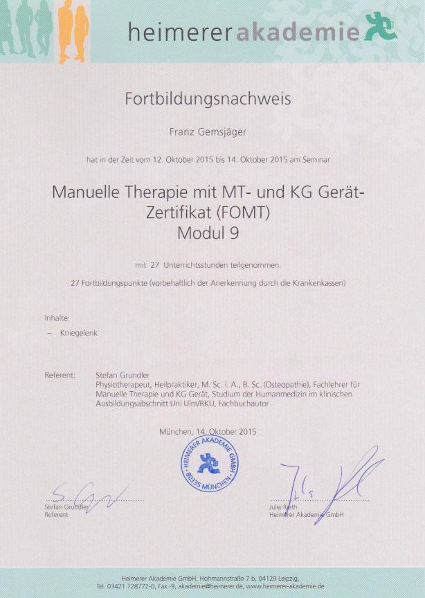 heimerer akademie - Zertifikat (14.10.2015)