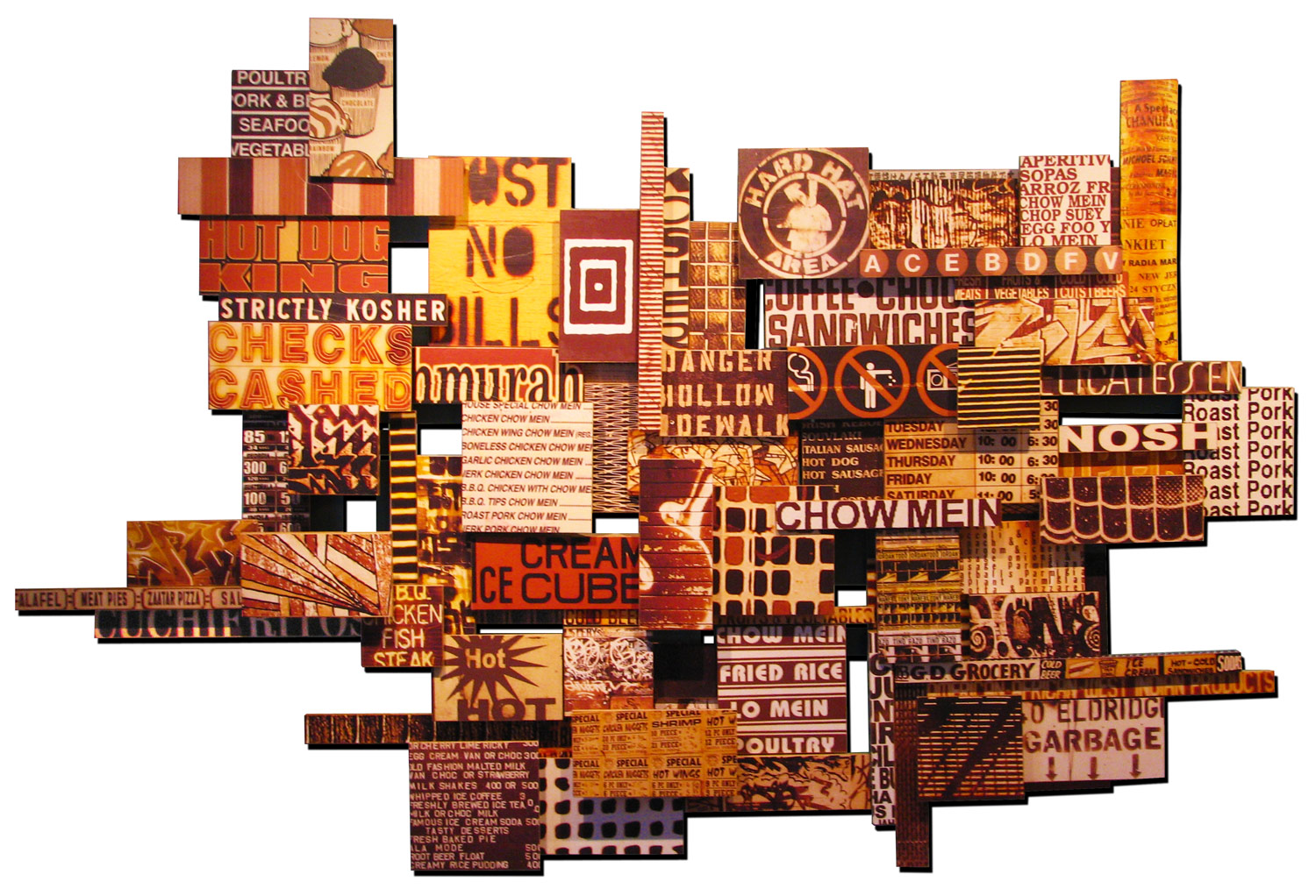 """Egg Foo Nosh, 2010, photographic collage on assorted salvaged plywood , 50""""x78"""", private collection, Brooklyn"""