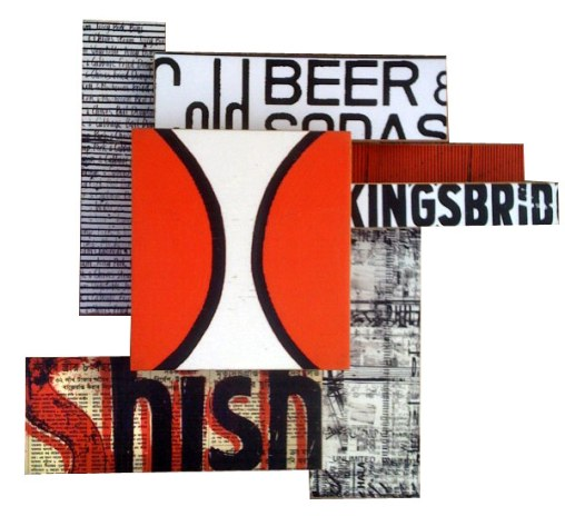 """King Shish (2008), 'U Pick I Stick' mixed media photographic collage on salvaged plywood, 15""""x15"""", private collection, Brooklyn/Iowa"""