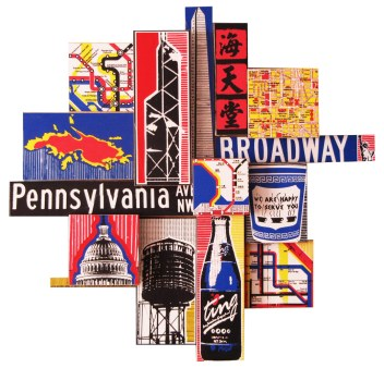 """NYC.HK.DC.VI, 2010, photographic collage on salvaged plywood, 20""""x18"""", private collection, New York, NY"""
