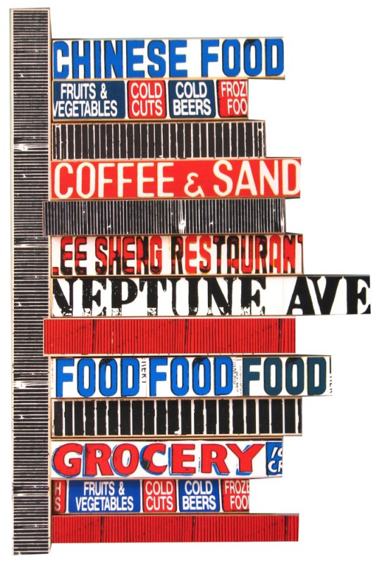 "Neptune Food (2008), mixed media photographic collage on salvaged plywood, 24""x16"""