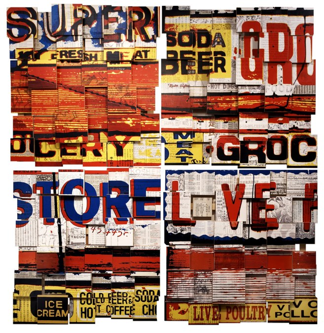 """Super Live (2006), mixed media photographic collage on russian baltic birch multi-ply plywood, 72""""x72"""", private collection, Switzerland"""