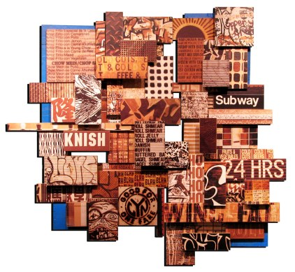 "Wing Fat (Shmear), 2010, mixed media photographic collage on salvaged plywood, 52""x54"", artist's private collection"