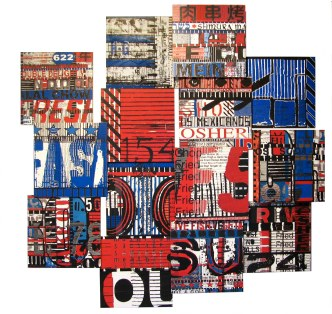 """Chow 154, 2009, mixed media photographic collage on salvaged plywood, 60""""x60"""", private collection, Manhattan"""