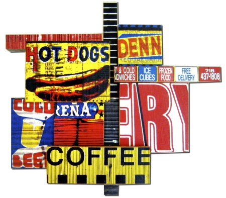 "Coffee Cubes (2008), 'U Pick I Stick ' mixed media photographic collage on salvaged plywood, 20""x20"", private collection, Zurich"