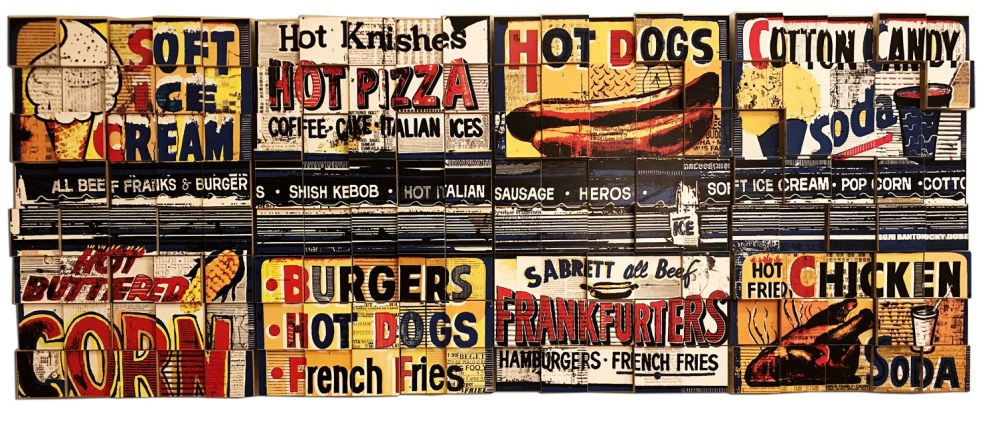 Hot Buttered Knishes, 2017, photo collage on cut plywood, 84x30, private collection, Brooklyn