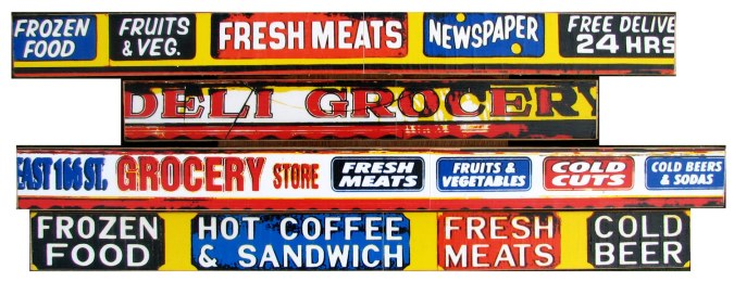 """Deli Meats (2008), 'U Pick 'Em I Stick Em' mixed media photographic collage on salvaged plywood, 6""""x15"""", private collection, Brooklyn, NY"""