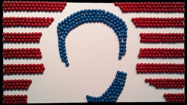 Collage image of Trayvon Martin made with Skittles by Josh Goldstein