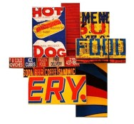 """Hot Food (2008), mixed media photographic collage on salvaged plywood, 18""""x18"""""""