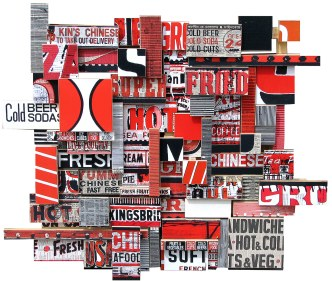 """Super Fried (2008), mixed media photographic collage on salvaged plywood, 48""""x44"""", private collection, Zurich"""
