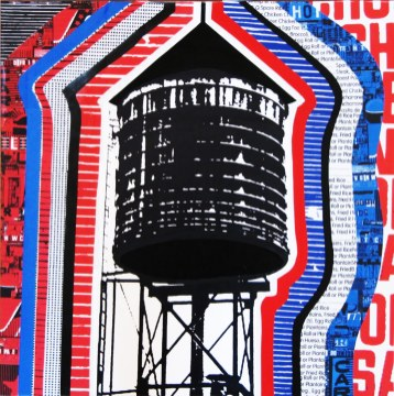 photo collage of Brooklyn water tank tower
