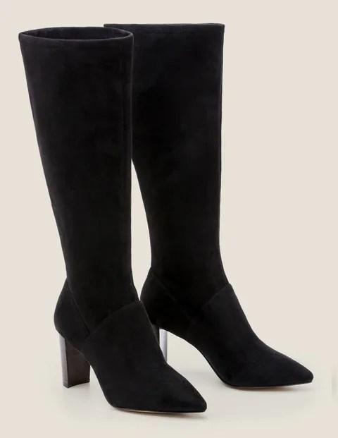 Stretch Black Knee Boots