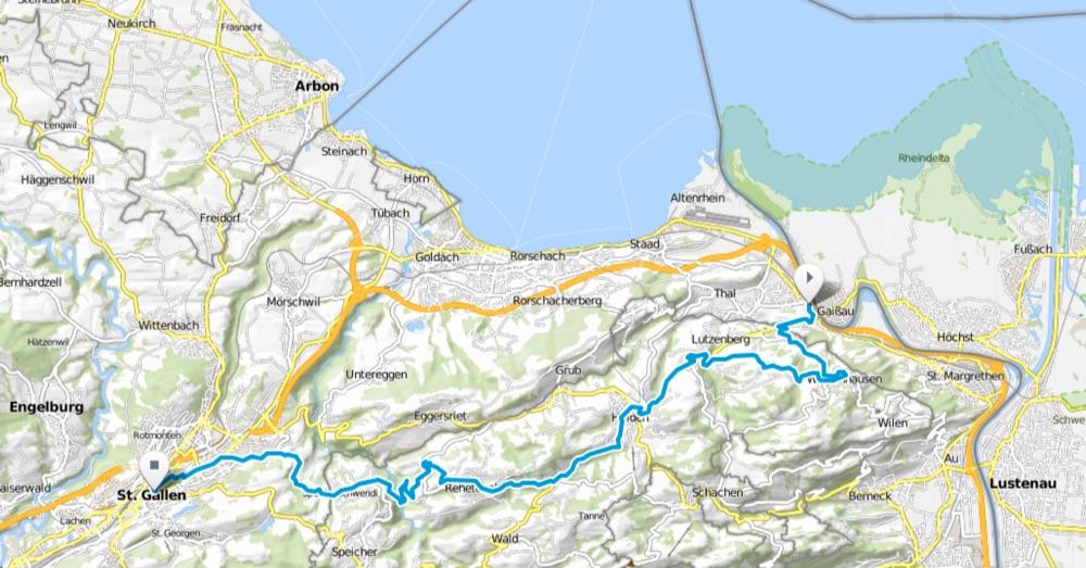 Karte Abstecher nach St Gallen