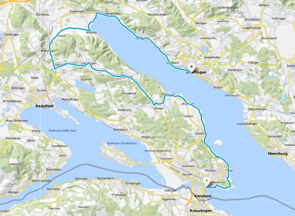 Karte Bodensee-Radweg Etappe 1