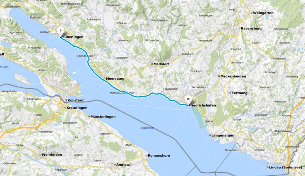 Karte Bodensee-Radweg Etappe 2