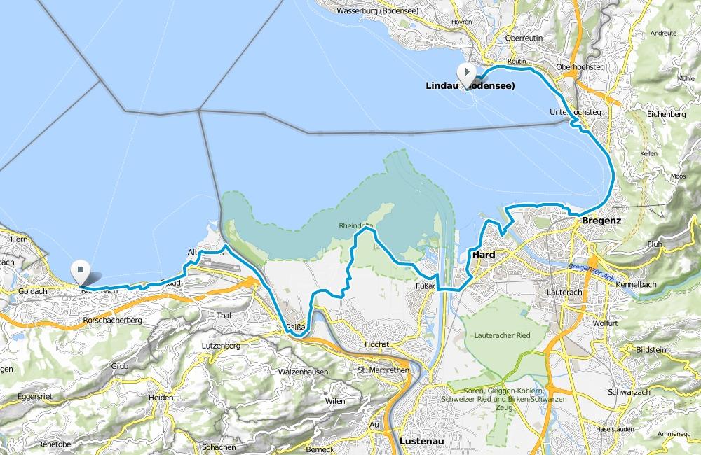 Karte Bodensee-Radweg Etappe 4