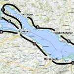 Karte Bodensee-Radweg Etappen