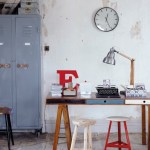 Industrial office with wooden desk