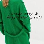ZARA GREEN COAT + BOYFRIEND JEANS
