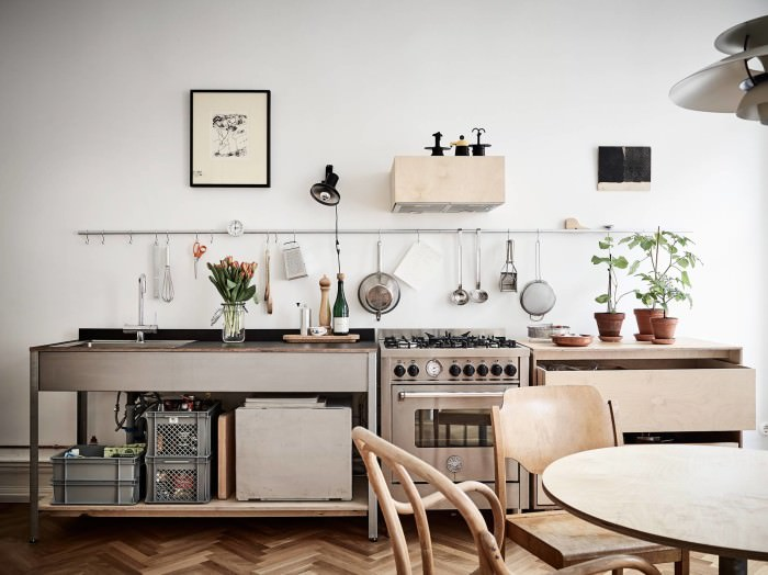 A minimalist plywood kitchen