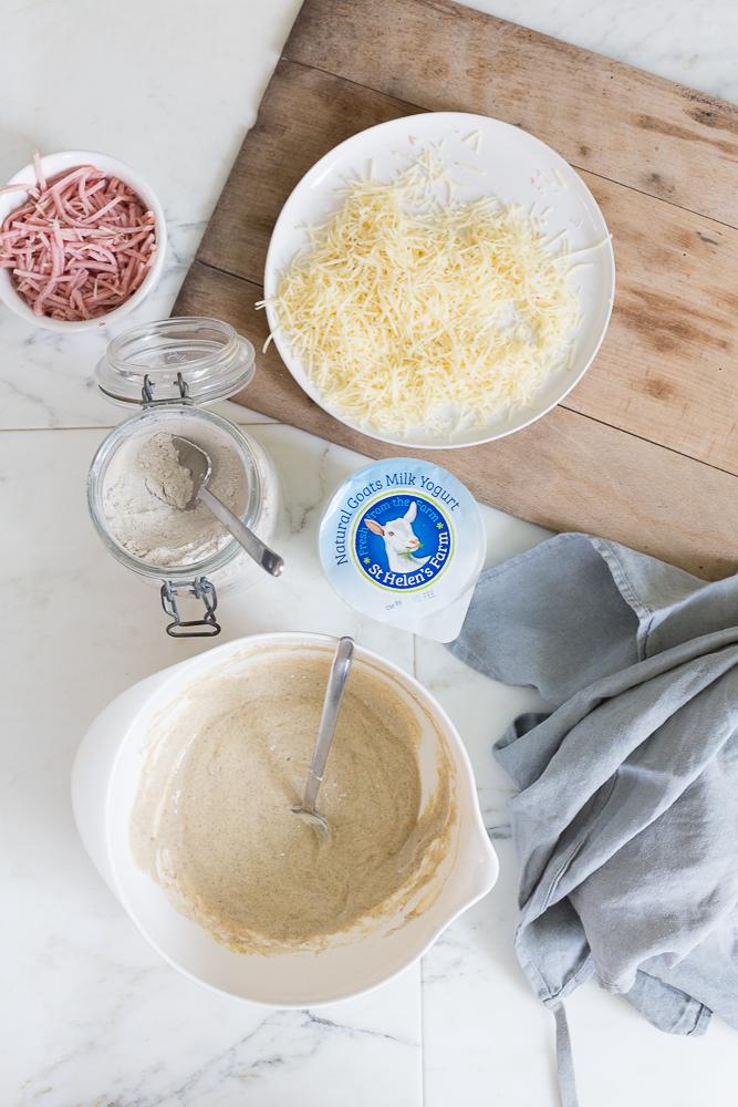 Ham, cheese & goats milk yogurt muffins with St Helen's Farm