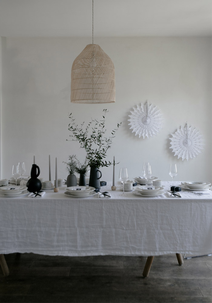 Grey & white Christmas styling table with Portmeirion
