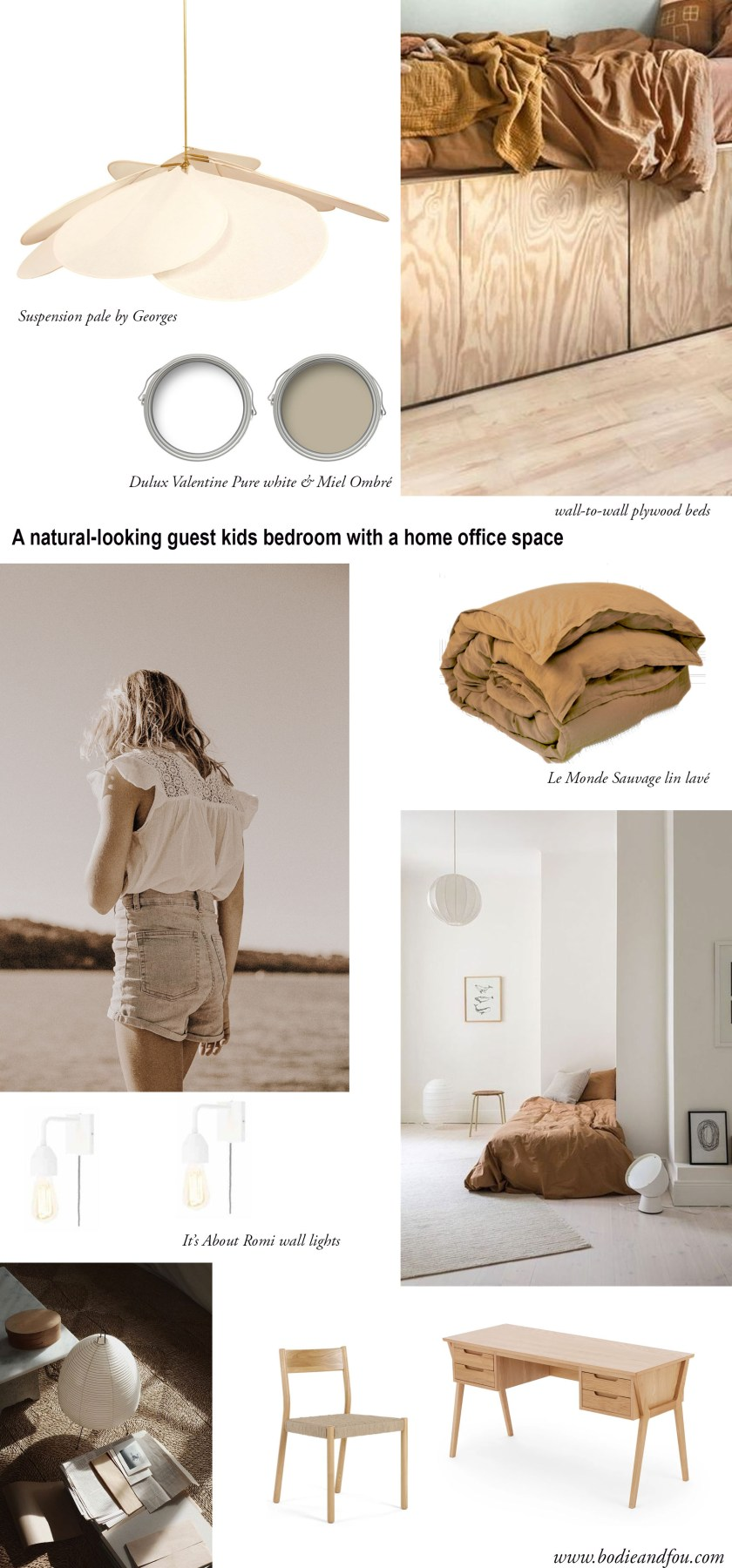Mood board for a bedroom makeover with plywood