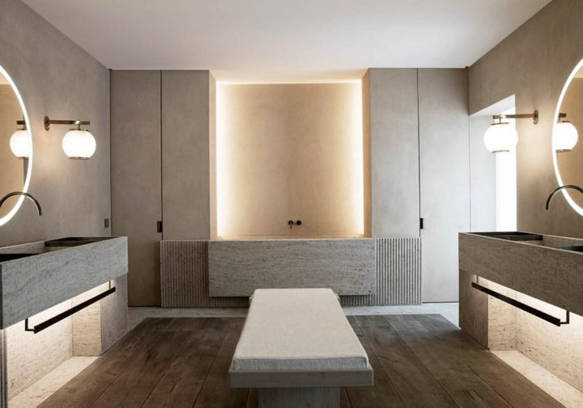 Une salle de bain minimaliste, intemporelle et chaleureuse ...