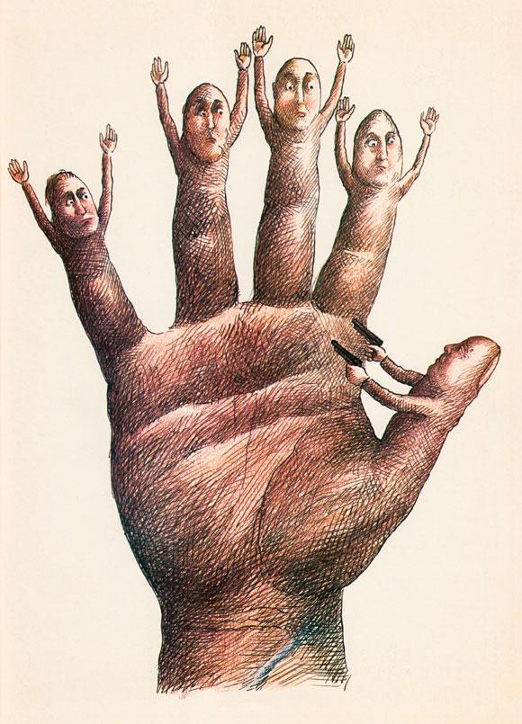 La-Main-c-ADAGP-Desin-paru-dans-Science-et-Avenir-en-1976