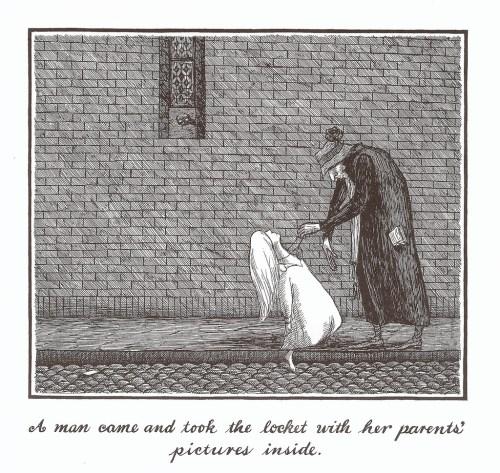 """Dans cette illustration de """"The Hapless Child"""" d'Edward Gorey, on croirait voir Sheeva, l'héroïne de L'Enfant et le Maudit."""