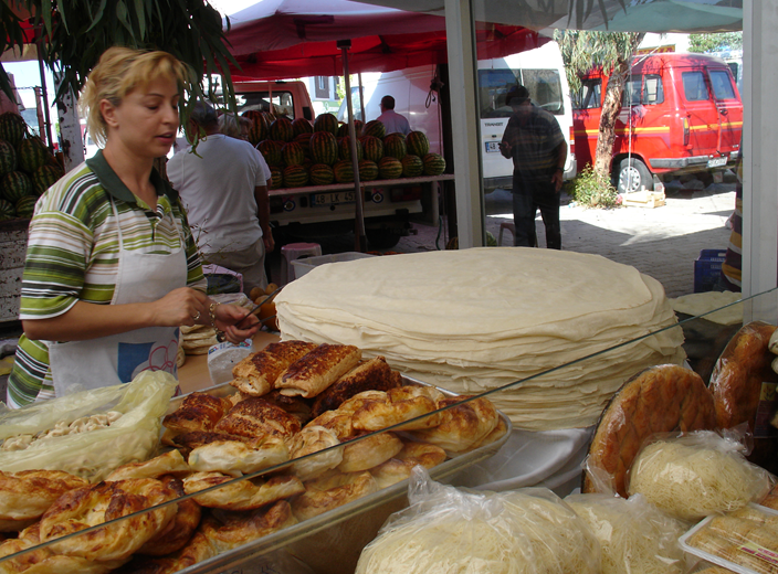 Wandering Through a Turkish Market eating a Gözleme