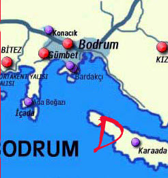 Map of the Bodrum Peninsula Turkey
