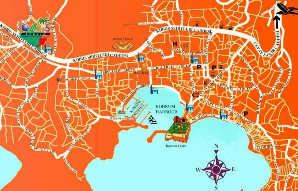 Bodrum Street Map Bodrum Travel Guide Turkey