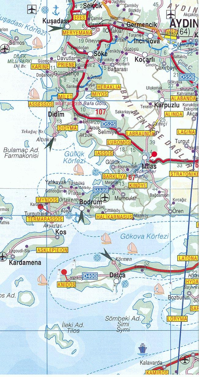 Road Map of Western Turkey Bodrum Travel Guide Turkey