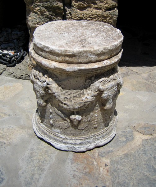 An altar from the Mausoleum at Halikarnassos, now displayed in Bodrum Castle.