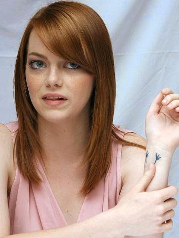Emma Stone has a cute bird-feet tattoo on her wrist.